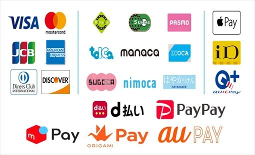 宝生堂では下記の「クレジットカード」「交通系ICカード」「ID」「QUICPay」「Apple Pay」「PayPay」「d払い」「ORIGAMI Pay」「メルペイ」「au Pay」でお支払いできます!